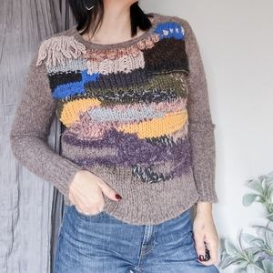 ANTHRO HAND KNIT BY DOLLIE fringe collar sweater